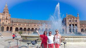 Plaza de Espana, Sévilla, andalousie, visite guidée en vélo en francais Séville