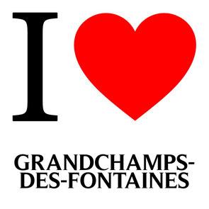 j'aime grandchamps des fontaines écrit avec un coeur rouge