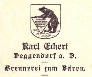 Erstes Firmenlogo der Brennerei zum Bären