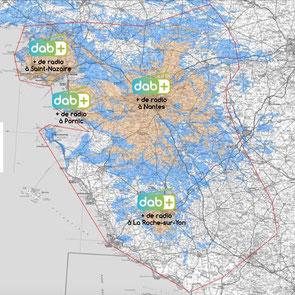 Couverture prévisionnel en 2019 du multiplex Nantes local, canal 7B en DAB+, DABplus, DABradio, GRAM