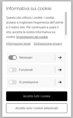 Cookie banner granulare sito web
