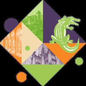Ce visuel géométrique illustre la page découvrir saint-bertrand-de-comminges, en mettant en scène les éléments principaux : la cathédrale, l'orgue, le cloître et le crocodile qui est traité façon BD