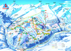 Panoramakarte Obersaxen Mundaun Lumnezia