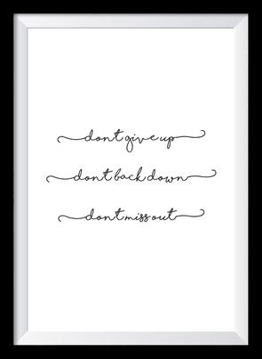 Typografie Poster Motivation, don't give up