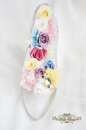 ディズニー プロポーズ ディズニーランドホテル ガラスの靴 シンデレラ ドナルド デイジー プリザーブドフラワー 刻印 オーダーフラワー  シュシュ chouchou
