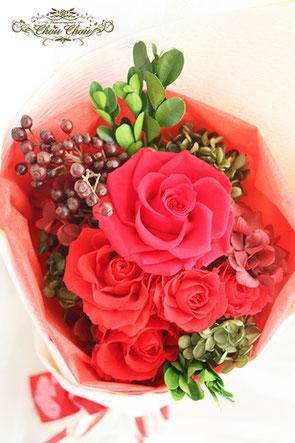 ディズニー プロポーズ ミラコスタ 赤薔薇 花束 プリザーブドフラワー 配達 オーダーフラワー  シュシュ chouchou