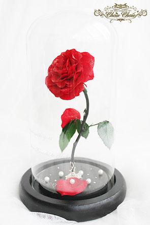 プロポーズ 美女と野獣 ミラコスタ 一輪の赤薔薇 ガラスドーム  オーダーフラワー シュシュ chouchou 舞浜花屋