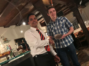 Ruan Kruger (r) receiving his Batsman of the Year award