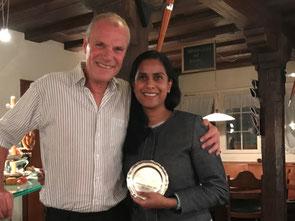 Juli Pratt (r) receives the 2017 President's Award
