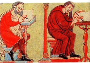 Mönche im Skriptorium. In: Codex aureus, 1030-1050.