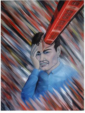 Kopfschmerzen II, 2014, Thorsten Singer, Zug im Kopf, Zug rast durch Kopf, Gemälde, leidender Mann