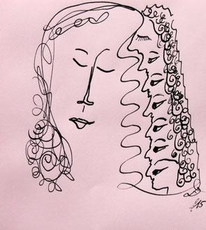 ruhiges Frauengesicht mit 7 Gedanken Tusche auf rosa Briefumschlag