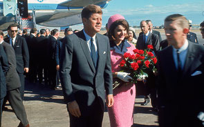 JFK & Jackie Kennedy (in the famous Pink Suit), Dallas 1963