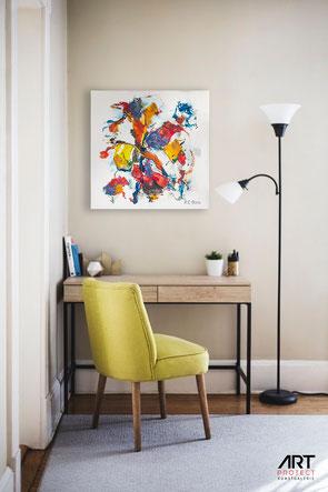 Moderne Bilder sollten zu jeder Büroausstattung dazu gehören. Ob Kunst im Homeoffice oder auch im Unternehmen. Abstrakte Bilder fördern die Kreativität und verbessern das Arbeitsklima.