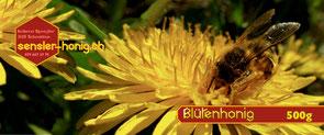 Etikette unseres Blütenhonigs