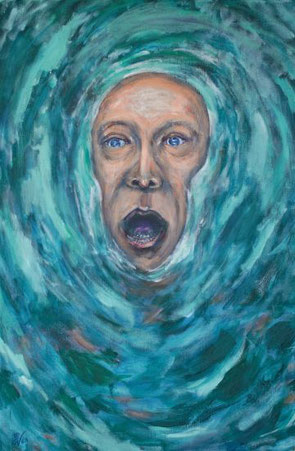 ein im Wasser nach Luft ringender Mensch