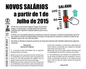 Comércio a Retalho do distrito de Setúbal - Novos salários a partir de 1 de Julho de 2015