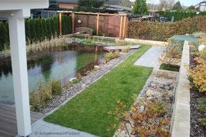 Komplettleistung von der Planung bis zur Bepflanzung von SchwimmteichFürDich, Privatschwimmteich mit Gartengestaltung, Holzverbau, über 10 m Schwimmlänge
