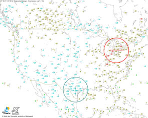 © Welt der Synoptik, Daten: Metwatch | Drucktendenzen (mit maximalem Steig- und Fallgebiet) über den USA am 30. Januar 2013 um 06 UTC zeigen das Vorhandensein einer kräftigen Kaltfront über dem mittleren Westen.