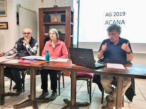 Alain Berton (secrétaire), Dominique Mathieu-Vérité (présidente) et Jean-Luc Cornu (trésorier)