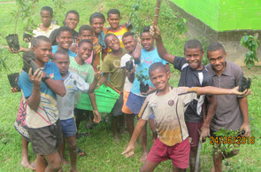 Children excited over their first tree planting