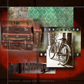 Reiskoffers,een oude trein en een oude fiets. De achtergrond rood en groen.