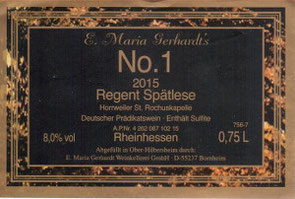 Etikett Gerhardt's No. 1 2015 Regent Spätlese