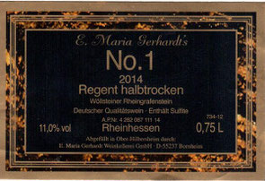 Etikett Gerhardt's No. 1 2014 Regent halbtrocken