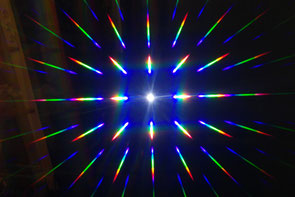 Diffraction spot halogène + réseau 2D