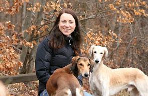 Frau sitzt auf einer Bank, Hunde stehen ohne Leine um sie herum