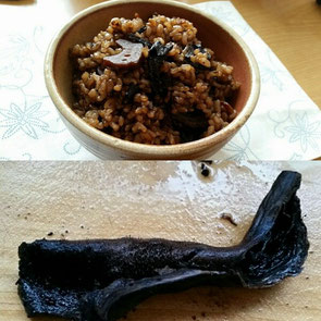 香茸を冷凍しておいたものを解凍しました。縦に半分に裂いたもの。地元では「ばくろ」と呼んでいます。これをご飯に入れて炊くことで香りの高い炊き込みご飯が出来上がります。写真上は玄米を香茸と一緒に炊き込んだもの。