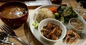 池尻大橋にあるキュイジーヌ・エ・サンテ・リマ (Cuisine et Sante LIMA)のランチプレート。全て丁寧な味付けで美味しゅうございました(^人^)玄米はきっと圧力鍋炊き。モチモチして美味しいのです。