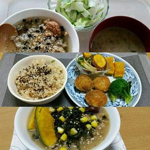 上から、玄米と粟(あわ)のお茶漬け、玄米と皮付きはと麦の圧力鍋炊き、玄米おじや。