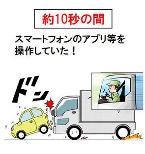 トラック運転者の「ながらスマホ」による事故