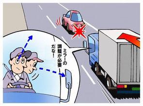 高速道路走行中のミラー調整は危険です