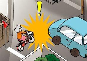 高齢者の自転車との出会い頭事故