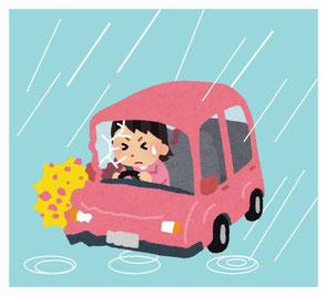 雨の日の道路施設への衝突