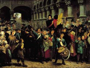 Charles Rogier quitte Liège à la tête des volontaires liégeois. Tableau de Charles Soub