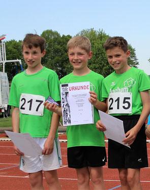 Kreismeister über 3x800m: Magnus, Patrick, Florian
