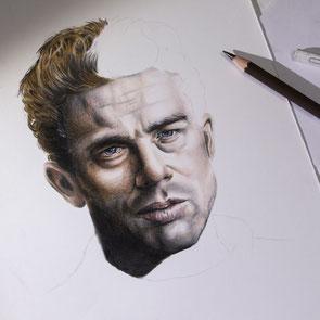 James Dean work in progress crayons couleur