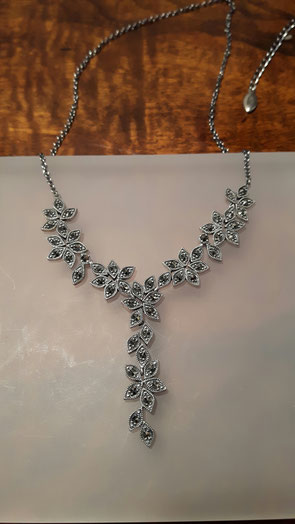 Markasit Collier mit Blüten in 925´er Sterling Silber