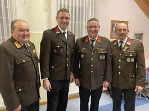 EABI Leopold Geiter, Kommandant-Stv. BI Martin Asimus, Kommandant OBI Franz Poiss, Bürgeremeister EHBM Eduard Ruck