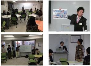 上段  講師(松山商工会議所青年部会員)による講義、  下段 クロストークおよび学生からの質問や意見発表