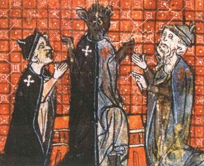 Proposition de fusion des deux Ordres - Templier (à droite) et Hospitalier (à gauche) - Le roman de Renart