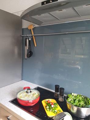 Einscheiben Sicherheitsglas als Küchenrückwand
