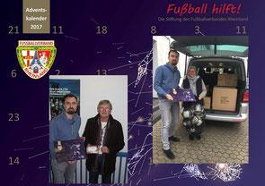 Foto link: Lothar Kalter vom SV Ochtendung freute sich über zwei VIP-Tickets Mainz gegen Schalke - Foto rechts: Anja Dümmel nimmt für Ihren Sohn Max vom SV Ellingen das Bitburger-Team-Paket entgegen