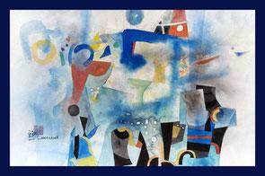 symphonie en bleu, shoichi hasegawa, aquarelle