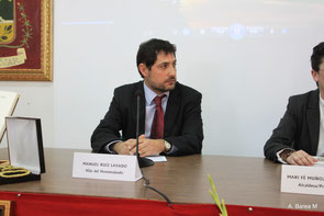 """D. Manuel Ruiz Lavado, hijo de """"Fausto"""" momentos antes de su discurso."""
