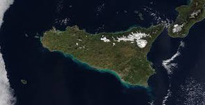 Sicily seen from seen from satelite