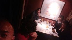 イタリアンレストランでの反省会の様子。結構話し合いしました。